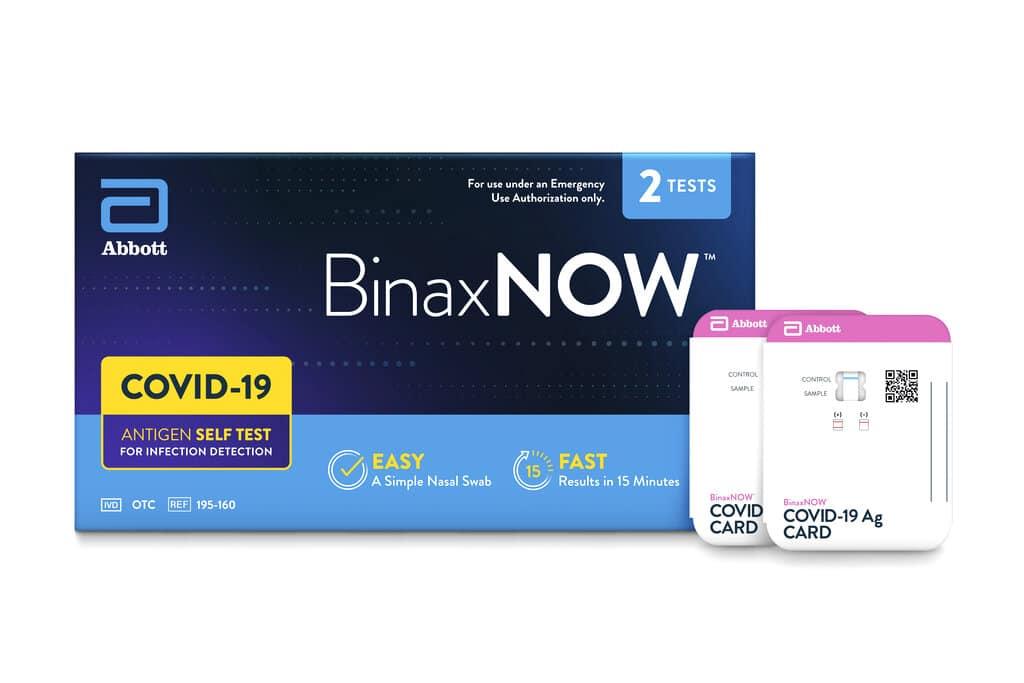 Binax Now at home rapid self diagnostic test kits